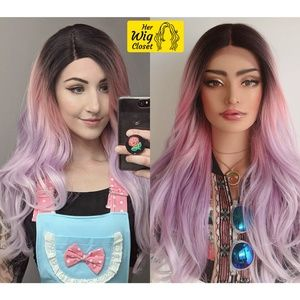 "26"" Pastel Pink Purple Ombre Wig Dark Roots